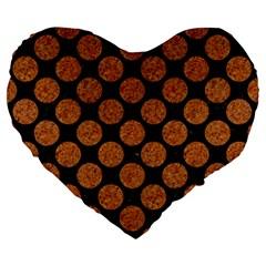 Circles2 Black Marble & Rusted Metal (r) Large 19  Premium Flano Heart Shape Cushions