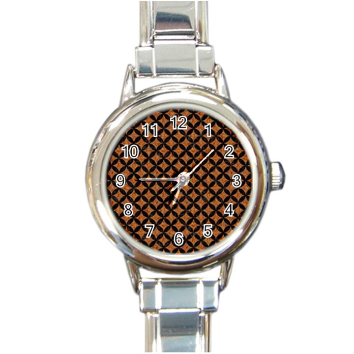 CIRCLES3 BLACK MARBLE & RUSTED METAL Round Italian Charm Watch