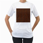 CIRCLES3 BLACK MARBLE & RUSTED METAL Women s T-Shirt (White) (Two Sided)