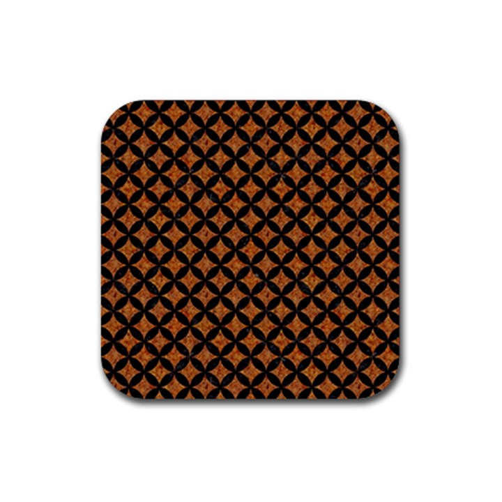 CIRCLES3 BLACK MARBLE & RUSTED METAL Rubber Square Coaster (4 pack)