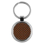CIRCLES3 BLACK MARBLE & RUSTED METAL Key Chains (Round)