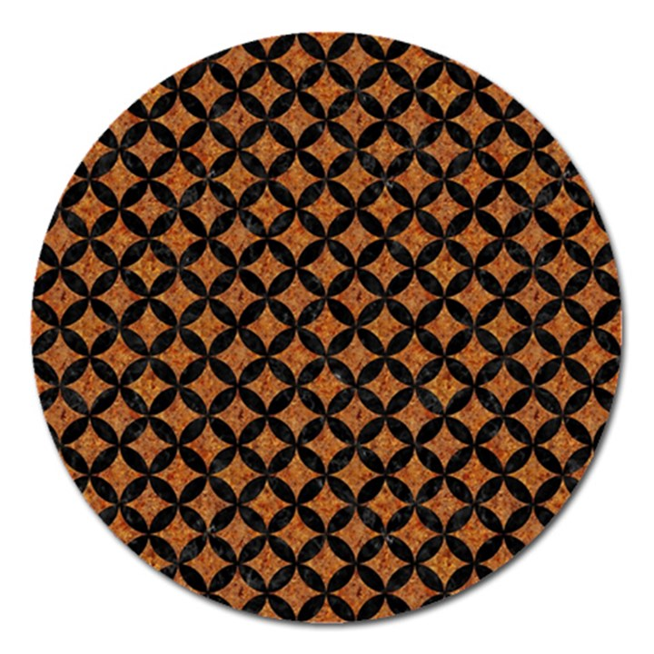 CIRCLES3 BLACK MARBLE & RUSTED METAL Magnet 5  (Round)