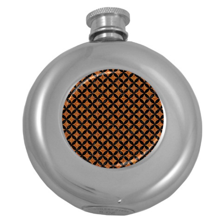 CIRCLES3 BLACK MARBLE & RUSTED METAL Round Hip Flask (5 oz)