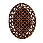 CIRCLES3 BLACK MARBLE & RUSTED METAL Oval Filigree Ornament (Two Sides) Back