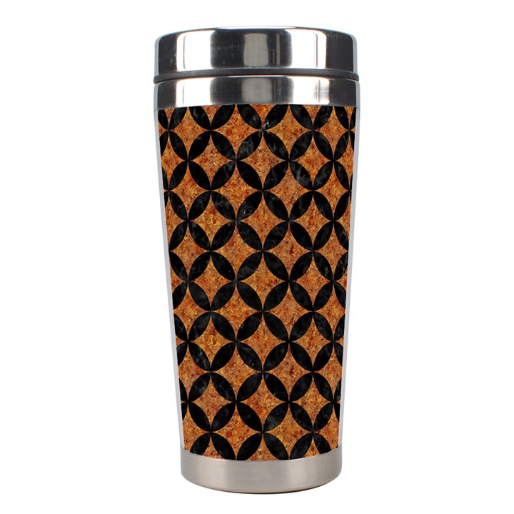 CIRCLES3 BLACK MARBLE & RUSTED METAL Stainless Steel Travel Tumblers