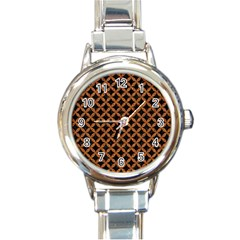 CIRCLES3 BLACK MARBLE & RUSTED METAL (R) Round Italian Charm Watch