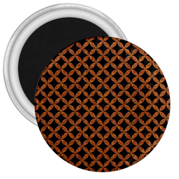 CIRCLES3 BLACK MARBLE & RUSTED METAL (R) 3  Magnets