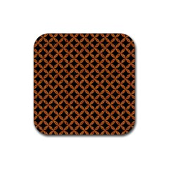 CIRCLES3 BLACK MARBLE & RUSTED METAL (R) Rubber Coaster (Square)
