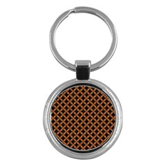 CIRCLES3 BLACK MARBLE & RUSTED METAL (R) Key Chains (Round)