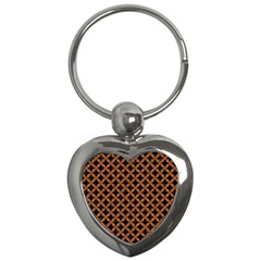 CIRCLES3 BLACK MARBLE & RUSTED METAL (R) Key Chains (Heart)