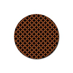 CIRCLES3 BLACK MARBLE & RUSTED METAL (R) Rubber Coaster (Round)