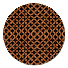 CIRCLES3 BLACK MARBLE & RUSTED METAL (R) Magnet 5  (Round)