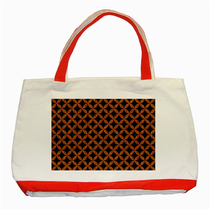 CIRCLES3 BLACK MARBLE & RUSTED METAL (R) Classic Tote Bag (Red)
