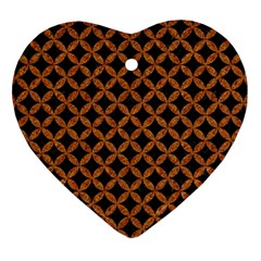 Circles3 Black Marble & Rusted Metal (r) Heart Ornament (two Sides) by trendistuff