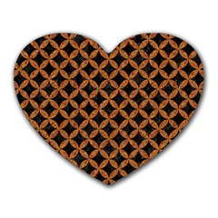 CIRCLES3 BLACK MARBLE & RUSTED METAL (R) Heart Mousepads