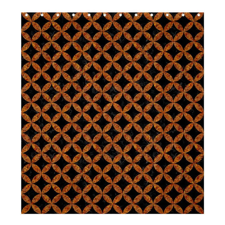 CIRCLES3 BLACK MARBLE & RUSTED METAL (R) Shower Curtain 66  x 72  (Large)