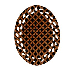 CIRCLES3 BLACK MARBLE & RUSTED METAL (R) Oval Filigree Ornament (Two Sides)