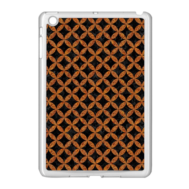 CIRCLES3 BLACK MARBLE & RUSTED METAL (R) Apple iPad Mini Case (White)