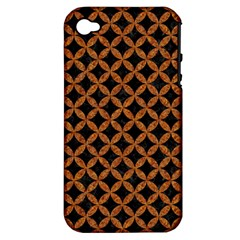 CIRCLES3 BLACK MARBLE & RUSTED METAL (R) Apple iPhone 4/4S Hardshell Case (PC+Silicone)