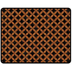 Circles3 Black Marble & Rusted Metal (r) Double Sided Fleece Blanket (medium)  by trendistuff
