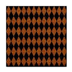 Diamond1 Black Marble & Rusted Metal Tile Coasters