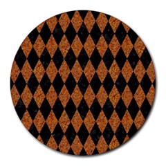 Diamond1 Black Marble & Rusted Metal Round Mousepads