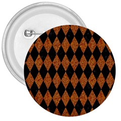 Diamond1 Black Marble & Rusted Metal 3  Buttons