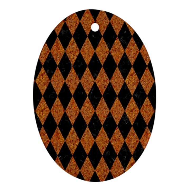 DIAMOND1 BLACK MARBLE & RUSTED METAL Ornament (Oval)