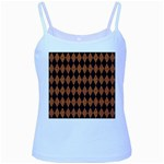 DIAMOND1 BLACK MARBLE & RUSTED METAL Baby Blue Spaghetti Tank Front