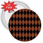 DIAMOND1 BLACK MARBLE & RUSTED METAL 3  Buttons (10 pack)  Front