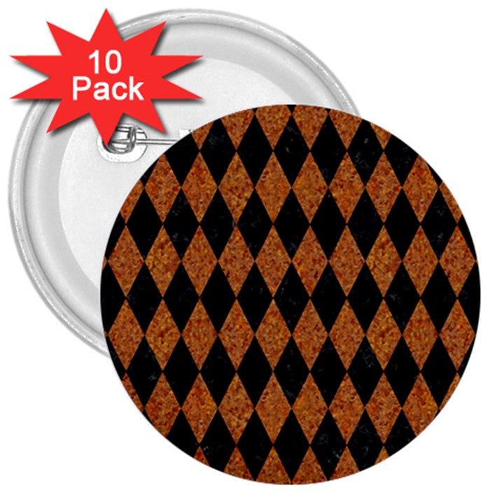 DIAMOND1 BLACK MARBLE & RUSTED METAL 3  Buttons (10 pack)