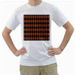 DIAMOND1 BLACK MARBLE & RUSTED METAL Men s T-Shirt (White) (Two Sided)