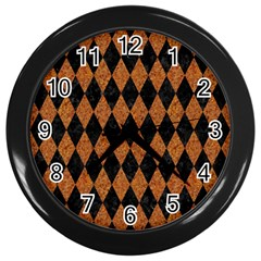 Diamond1 Black Marble & Rusted Metal Wall Clocks (black)