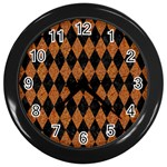 DIAMOND1 BLACK MARBLE & RUSTED METAL Wall Clocks (Black) Front
