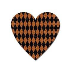 Diamond1 Black Marble & Rusted Metal Heart Magnet