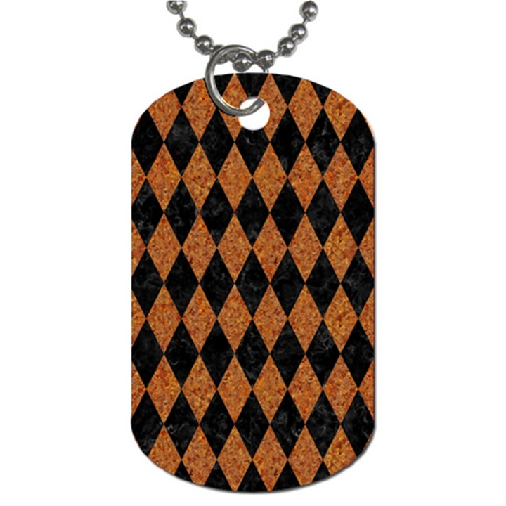 DIAMOND1 BLACK MARBLE & RUSTED METAL Dog Tag (Two Sides)