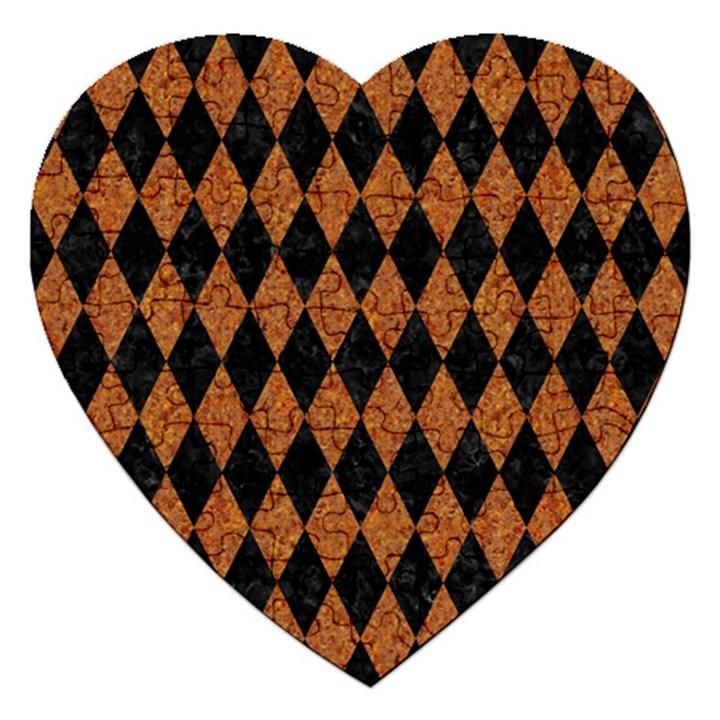 DIAMOND1 BLACK MARBLE & RUSTED METAL Jigsaw Puzzle (Heart)