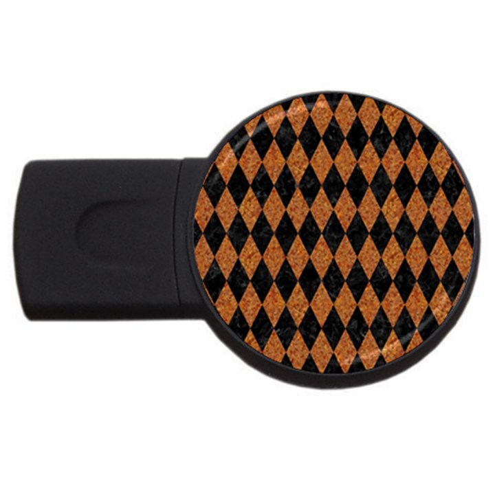 DIAMOND1 BLACK MARBLE & RUSTED METAL USB Flash Drive Round (4 GB)