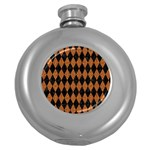 DIAMOND1 BLACK MARBLE & RUSTED METAL Round Hip Flask (5 oz) Front