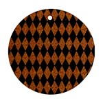 DIAMOND1 BLACK MARBLE & RUSTED METAL Round Ornament (Two Sides)