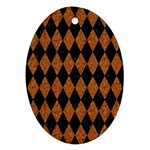 DIAMOND1 BLACK MARBLE & RUSTED METAL Oval Ornament (Two Sides)
