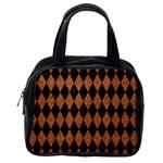 DIAMOND1 BLACK MARBLE & RUSTED METAL Classic Handbags (2 Sides) Back