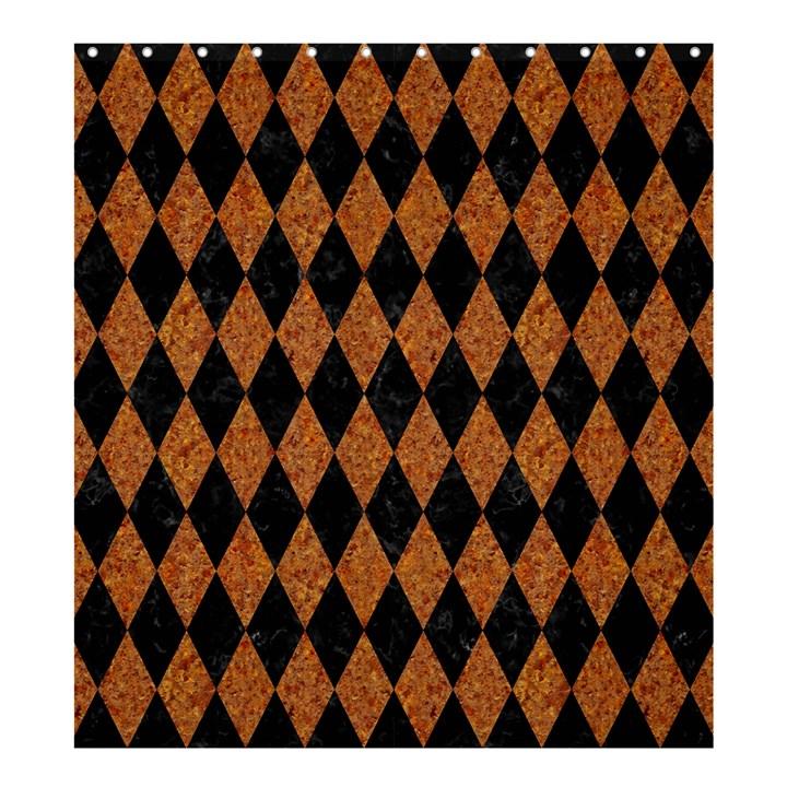 DIAMOND1 BLACK MARBLE & RUSTED METAL Shower Curtain 66  x 72  (Large)