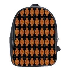 Diamond1 Black Marble & Rusted Metal School Bag (large) by trendistuff