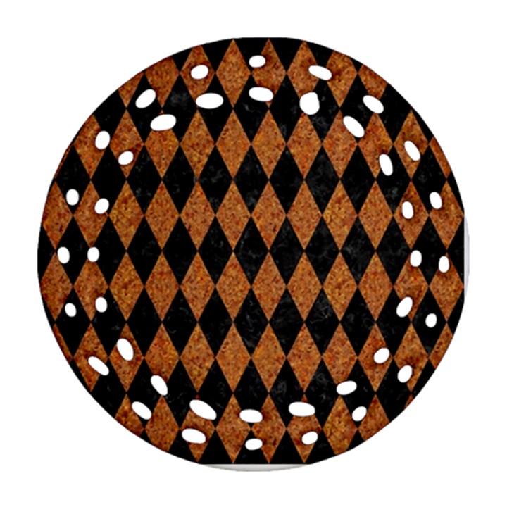 DIAMOND1 BLACK MARBLE & RUSTED METAL Ornament (Round Filigree)