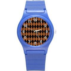 Diamond1 Black Marble & Rusted Metal Round Plastic Sport Watch (s) by trendistuff