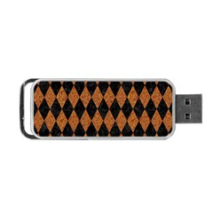 Diamond1 Black Marble & Rusted Metal Portable Usb Flash (one Side)