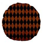 DIAMOND1 BLACK MARBLE & RUSTED METAL Large 18  Premium Round Cushions
