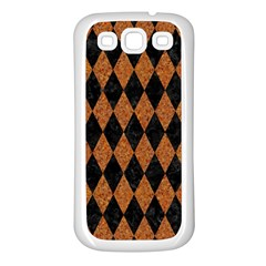 Diamond1 Black Marble & Rusted Metal Samsung Galaxy S3 Back Case (white) by trendistuff