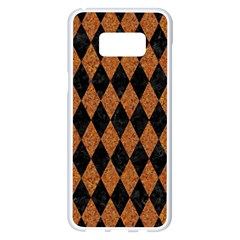 Diamond1 Black Marble & Rusted Metal Samsung Galaxy S8 Plus White Seamless Case by trendistuff